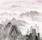 Chinese painting of high mountain landscape — Stock Photo
