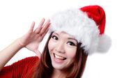 幸せな女の子挨拶クリスマス帽子 — ストック写真
