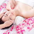 Woman enjoy receiving face massage - Foto de Stock  