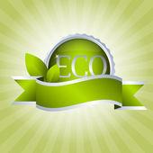 Green badge with ribbon — Stock Vector