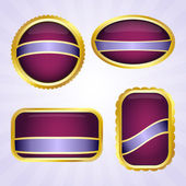 Purple badges with ribbon — Stock Vector