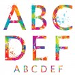 Font - Colorful letters with drops and splashes from A to F. Vec — 图库矢量图片