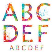 Font - lettere colorato con gocce e spruzzi da un a f. vec — Vettoriale Stock