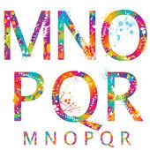 Lettertype - kleurrijke letters met druppels en spatten van m naar r. vec — Stockvector