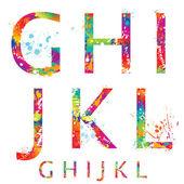 Font - färgglada bokstäver med droppar och stänk från g till l. vec — Stockvektor