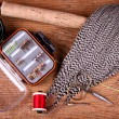 Collection of fly tying and fishing equiptment — Stock Photo #10966746