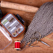 Collection of fly tying and fishing equiptment - Stock Photo