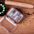Collection of fly fishing equiptment — Stock Photo
