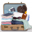 Packed vintage suitcase — Stock Photo
