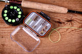 Collection of fly fishing equiptment — Foto Stock