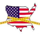 Map of America on a diet, with measuring tape — Stock Photo