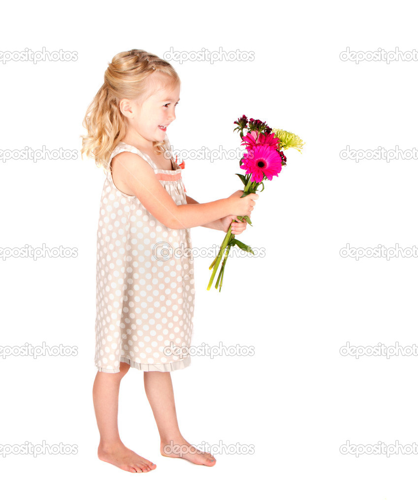 Little girl holding flowers isolated on white — Stock Photo #10967210