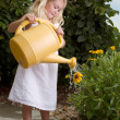 Young girl watering flowers — Stok Fotoğraf #11623815
