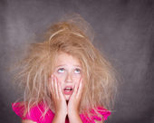 Girl with crazy tangled hair — Photo