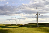 Windmill farm in rolling hills — Stock Photo