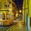Lisbon tram at night — Stock Photo