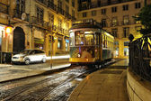 Lisbon tram at night — Stok fotoğraf