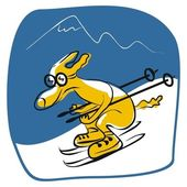 Skiing Dog — Stock Vector