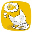 Cute Cat Dreaming — Stock Vector