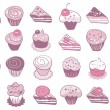 Cake Icons Set — Stock Vector
