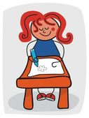 Little Girl Doodling — Stock vektor