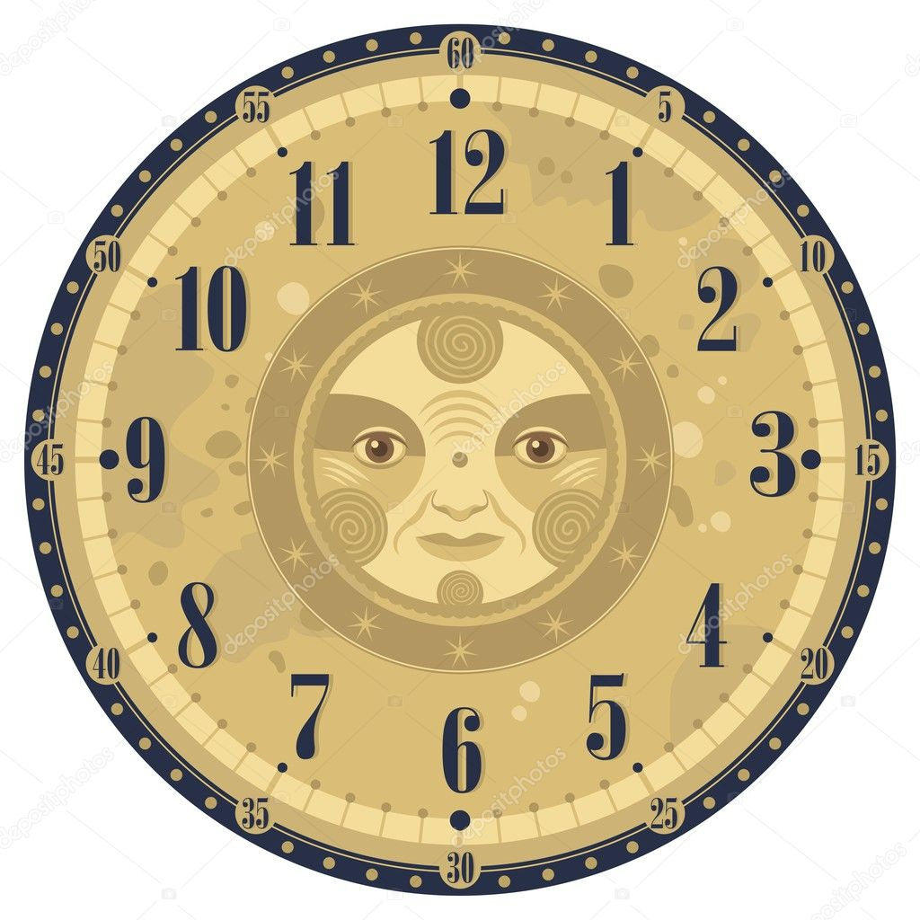 Vintage Clock Face Stock Vector 169 Yurumi 11490681