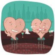 Two Hearts At A Bar — Stock Vector