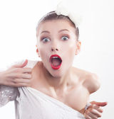 Screaming girl with red lips close up portrait — Stock Photo
