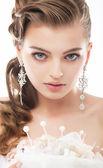 Beauty - fashionable bride face close up portrait — Stock Photo