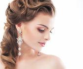 Glad sensuell vacker kvinna. ljusa gör upp — Stockfoto