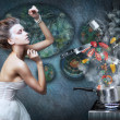 Stove. Housewife prepares meals. Food ingredients in smoke - Stockfoto