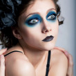 Theatrical style - actress woman with blue makeup — Stock Photo