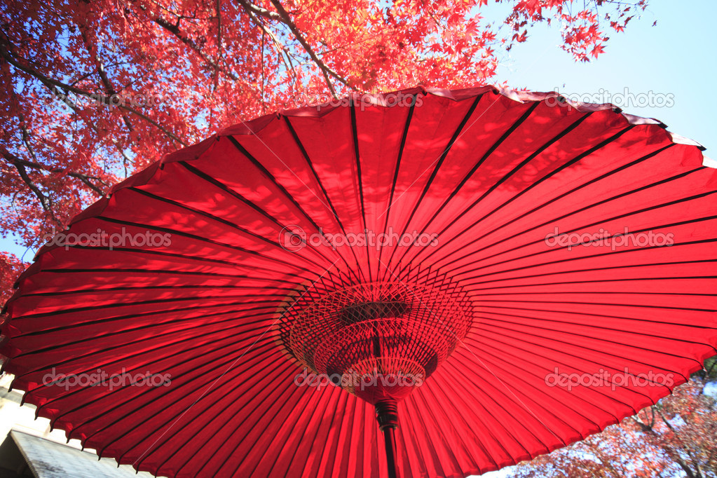 Japanese red umbrella  Stock Photo #10883938