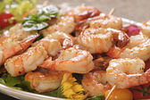 Shrimp skewered — Stock Photo