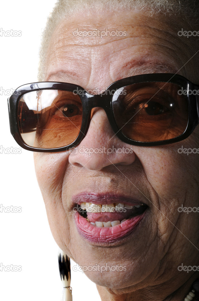 Attractive Elderly African American Woman isolated on white — Stock Photo #10974568