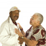 Elderly African American Woman talking — Stock Photo