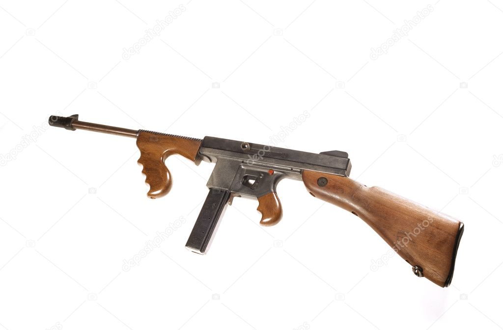 A Thompson Machine gun the favorite weapon of the gangsters in the  1920's -1930's isolated over white — Stock Photo #10981739