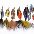 Collection of Fishing lures - Stock Photo