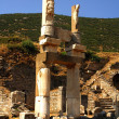 Columns in the historical ancient Roman city of Ephesus in Turkey - Stock Photo