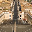 View from the top of San Pietro (The Vatican) in Rome looking down via Vaticano towards Castel St. Angelo — Stock Photo
