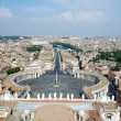 View from the top of San Pietro (The Vatican) in Rome looking down via Vaticano towards Castel St. Angelo - Stock Photo