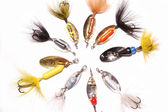 Collection of Fishing lures — Stock Photo