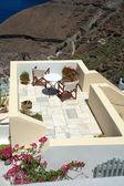 Patio on the greek island of Santorini — Stock Photo