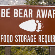 Stock Photo: Bear aware sign