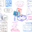 Stock Photo: Passport stamps and visa's