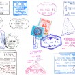 Passport stamps and visa's — Stock Photo