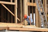 Hispanic Carpenter sorting wood — Stock Photo