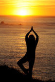 Woman exercising at sunset on the West coast — Stock Photo