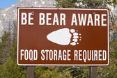 Bear aware sign — Stock Photo