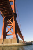 Golden gate bridge from a boat under the bridge — Stock Photo